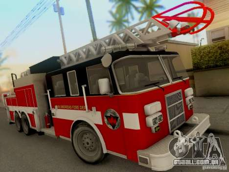 Pierce Firetruck Ladder SA Fire Department para GTA San Andreas esquerda vista