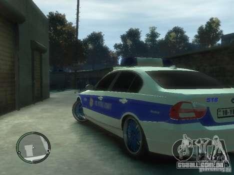 BMW 320i Police para GTA 4 traseira esquerda vista