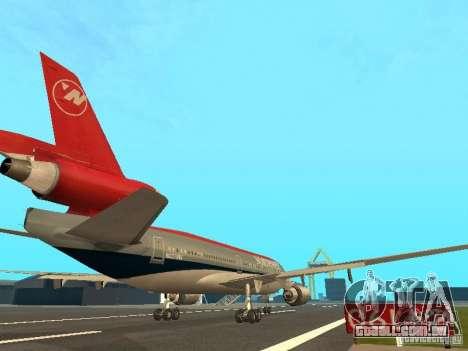 McDonell Douglas DC 10 Nortwest Airlines para GTA San Andreas vista traseira