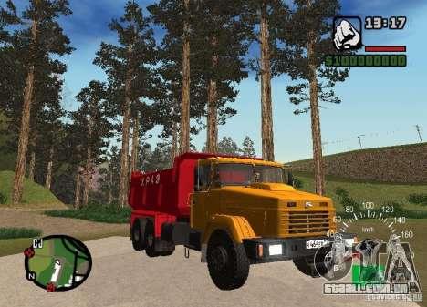 KrAZ 65055 caminhão para GTA San Andreas vista traseira