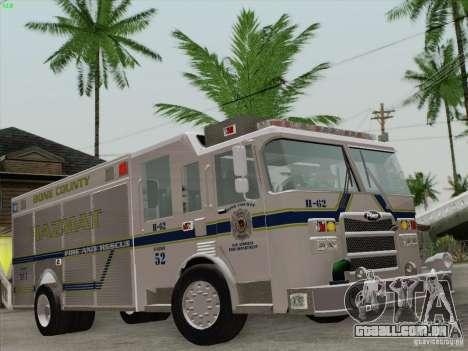 Pierce Fire Rescues. Bone County Hazmat para o motor de GTA San Andreas