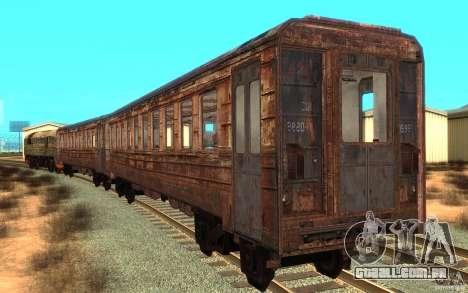 Um trem do jogo STALKER para GTA San Andreas traseira esquerda vista
