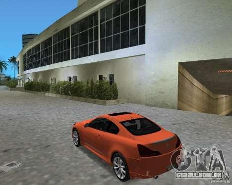 Infinity G37 para GTA Vice City vista direita