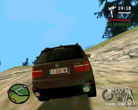 BMW X5 E70 para GTA San Andreas traseira esquerda vista