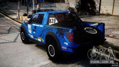 Ford F150 Racing Raptor XT 2011 para GTA 4 traseira esquerda vista