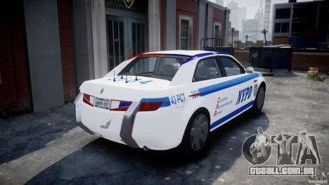 Carbon Motors E7 Concept Interceptor NYPD [ELS] para GTA 4 traseira esquerda vista
