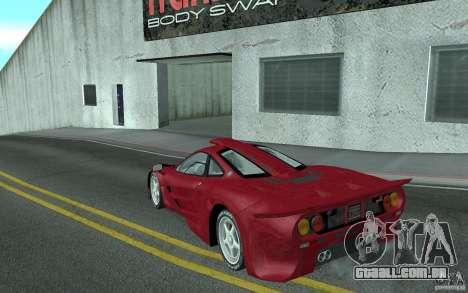 Mclaren F1 GT (v1.0.0) para GTA San Andreas traseira esquerda vista