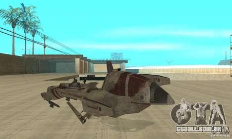 Star Wars speedbike para GTA San Andreas traseira esquerda vista