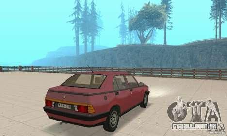 Alfa Romeo 75 para GTA San Andreas esquerda vista