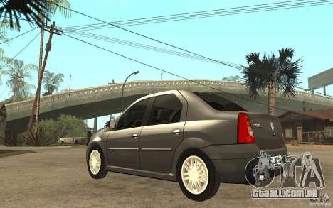 Dacia Logan Prestige 1.6 16v para GTA San Andreas traseira esquerda vista