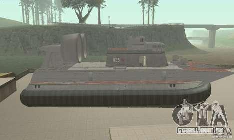 Hovercraft para GTA San Andreas traseira esquerda vista