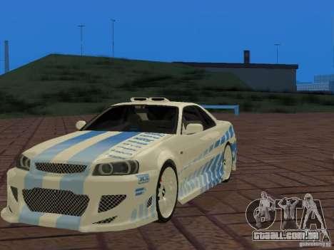 Nissan Skyline GT-R R34 Tunable para vista lateral GTA San Andreas