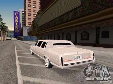 Cadillac Fleetwood Limousine 1985 para GTA San Andreas traseira esquerda vista
