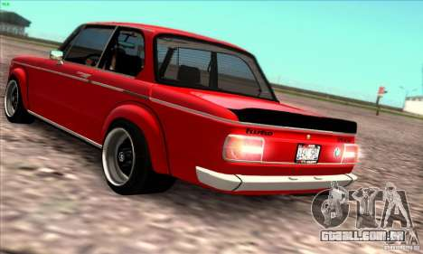 BMW 2002 Turbo para GTA San Andreas vista interior