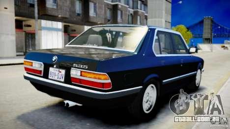 BMW 535 E28 para GTA 4 vista direita