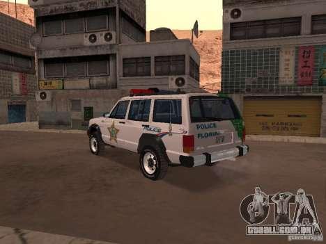Jeep Cherokee Police 1988 para GTA San Andreas traseira esquerda vista