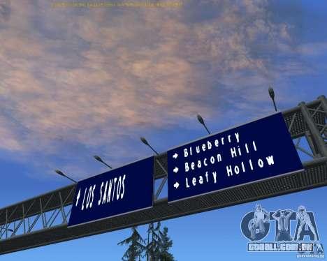Estrada sinais v 1.1 para GTA San Andreas