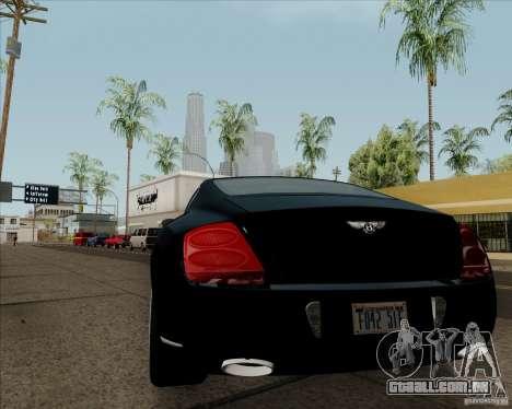 Bentley Continental GT V1.0 para GTA San Andreas traseira esquerda vista