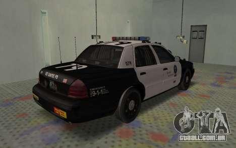 Ford Crown Victoria Police Interceptor LSPD para GTA San Andreas traseira esquerda vista