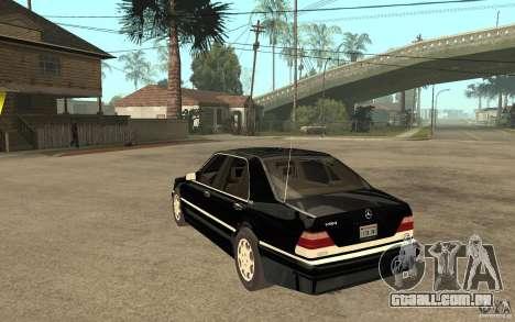 Mercedes-Benz S600 V12 W140 1998 V1.3 para GTA San Andreas traseira esquerda vista