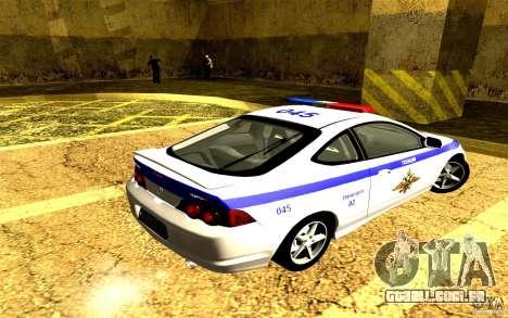 Acura RSX-S polícia para GTA San Andreas esquerda vista