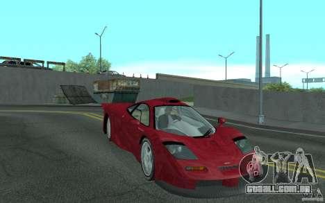 Mclaren F1 GT (v1.0.0) para GTA San Andreas vista traseira