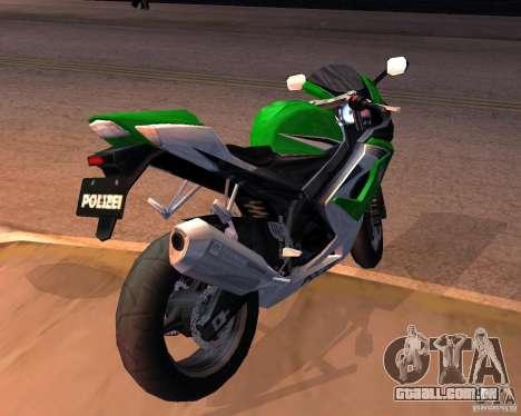 Suzuki 1000 Police para GTA San Andreas traseira esquerda vista