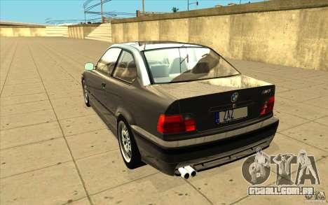 BMW E36 M3 - Stock para GTA San Andreas traseira esquerda vista