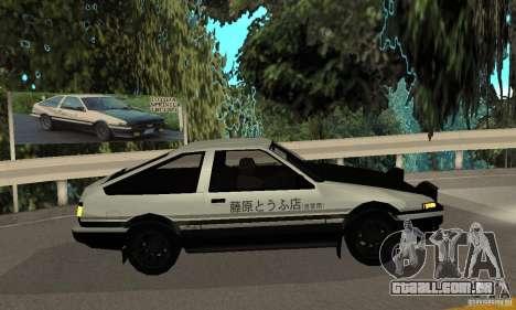 Toyota Sprinter Trueno GT-APEX AE86 83 Initial D para GTA San Andreas traseira esquerda vista