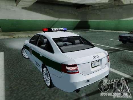 Audi A6 Police para GTA San Andreas traseira esquerda vista