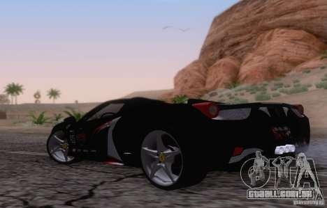 Ferrari F458 para GTA San Andreas vista direita