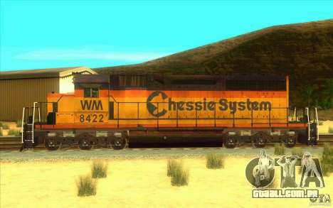 Chessie System sd40-2 para GTA San Andreas esquerda vista