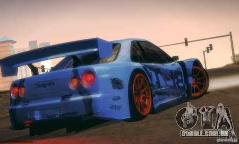 Nissan Skyline Touring R34 Blitz para GTA San Andreas vista traseira