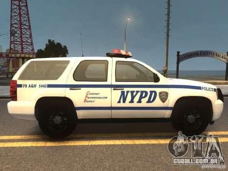 Chevrolet Tahoe NYPD V.2.0 para GTA 4 vista direita