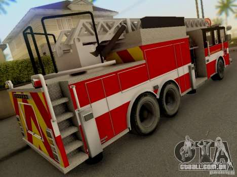 Pierce Firetruck Ladder SA Fire Department para GTA San Andreas vista traseira