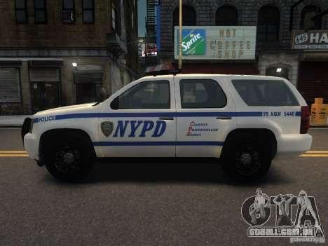 Chevrolet Tahoe NYPD V.2.0 para GTA 4 esquerda vista