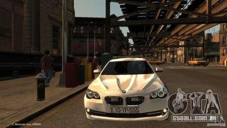 BMW 550i Azeri Police YPX para GTA 4 vista de volta