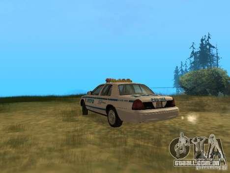 Ford Crown Victoria NYPD Police para GTA San Andreas vista direita