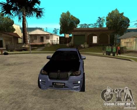 BMW X6 M HAMANN para GTA San Andreas vista traseira