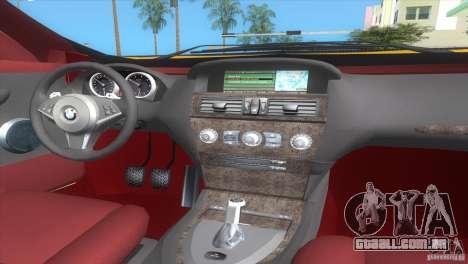 BMW 645Ci para GTA Vice City vista traseira esquerda