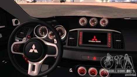 Mitsubishi Lancer Evolution X Tunable para GTA San Andreas vista inferior