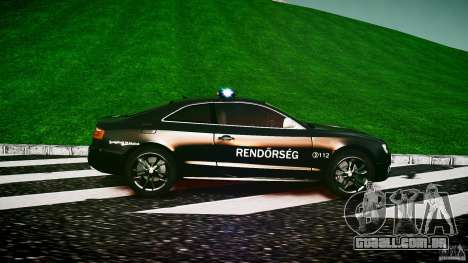 Audi S5 Hungarian Police Car black body para GTA 4 esquerda vista