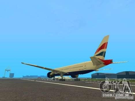 Boeing 777-200 British Airways para GTA San Andreas traseira esquerda vista