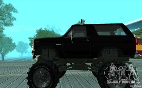 Ford Bronco Monster Truck 1985 para GTA San Andreas traseira esquerda vista