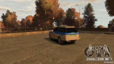 Land Rover Range Rover Police para GTA 4 esquerda vista