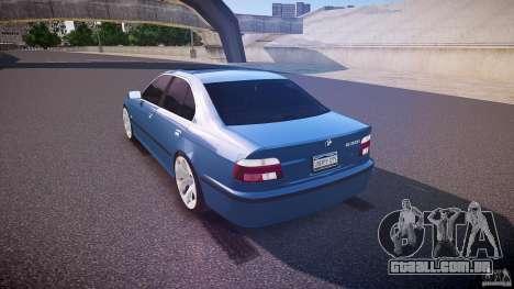 BMW 530I E39 e63 white wheels para GTA 4 traseira esquerda vista