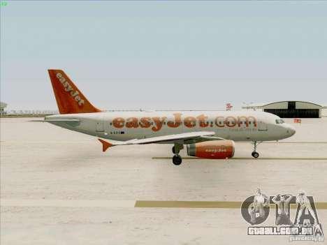 Airbus A319 Easyjet para GTA San Andreas vista traseira