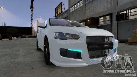 Mitsubishi Lancer Evo X para GTA 4 vista de volta