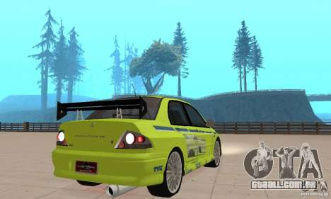 Mitsubishi Lancer Evo The Fast and the Furious 2 para GTA San Andreas esquerda vista