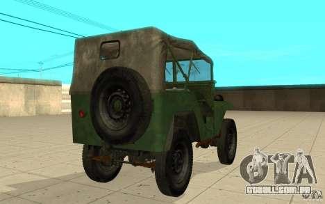 Gaz-64 pele 1 para GTA San Andreas traseira esquerda vista